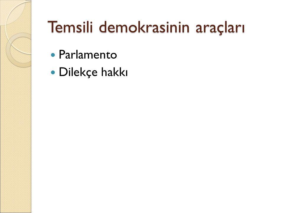 Temsili demokrasinin araçları Parlamento Dilekçe hakkı