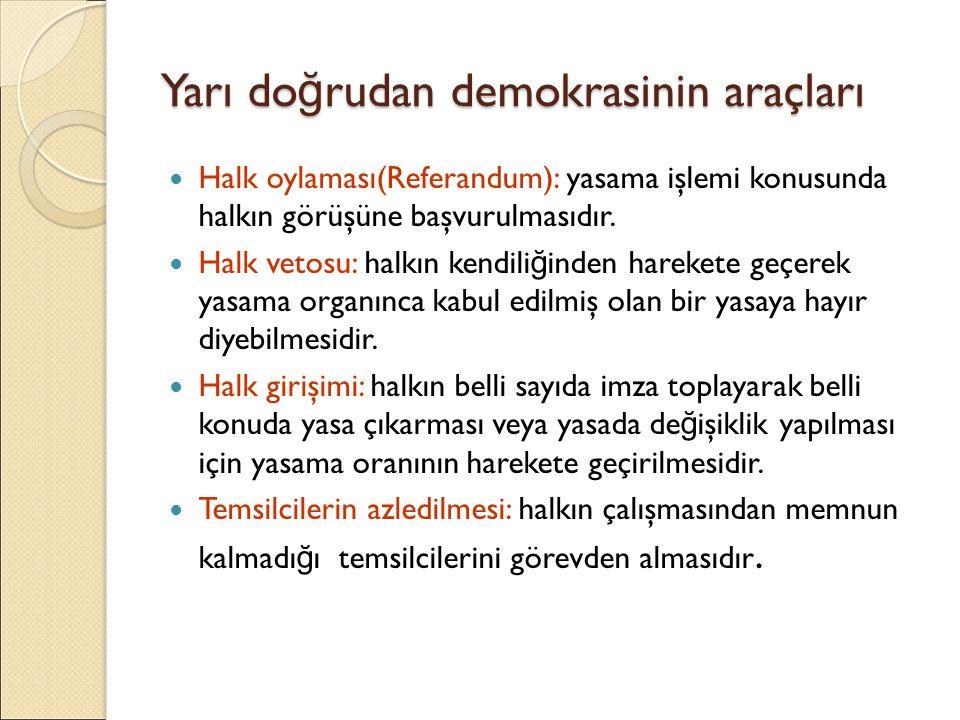 Yarı do ğ rudan demokrasinin araçları Halk oylaması(Referandum): yasama işlemi konusunda halkın görüşüne başvurulmasıdır. Halk vetosu: halkın kendili