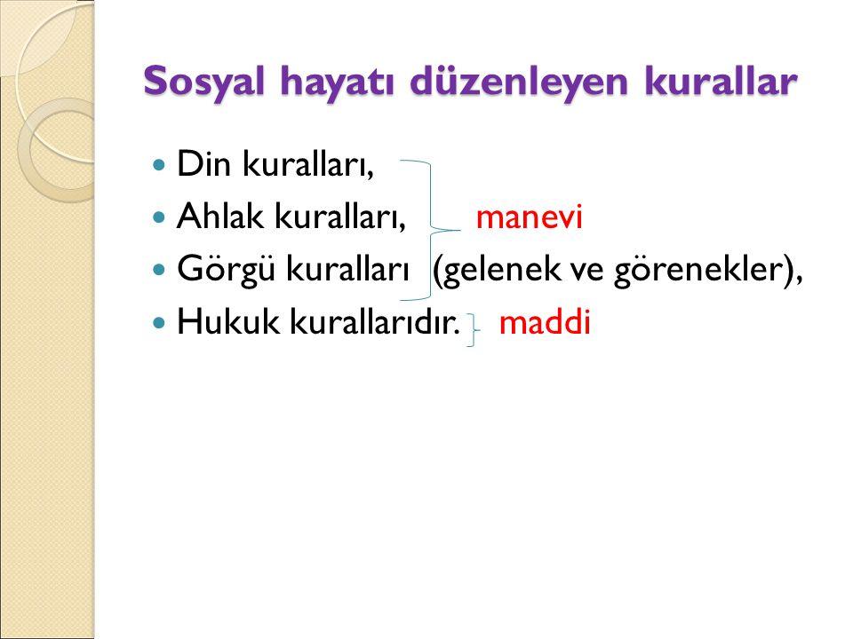 Sosyal hayatı düzenleyen kurallar Din kuralları, Ahlak kuralları, manevi Görgü kuralları (gelenek ve görenekler), Hukuk kurallarıdır.