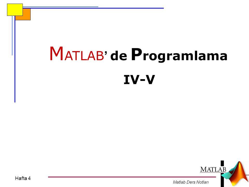 Hafta 4 MATLAB Ders Notları Uygulama: fprintf('For döngüsü testi\n ); for i = 4:-1:1 fprintf( For döngüsü testi.
