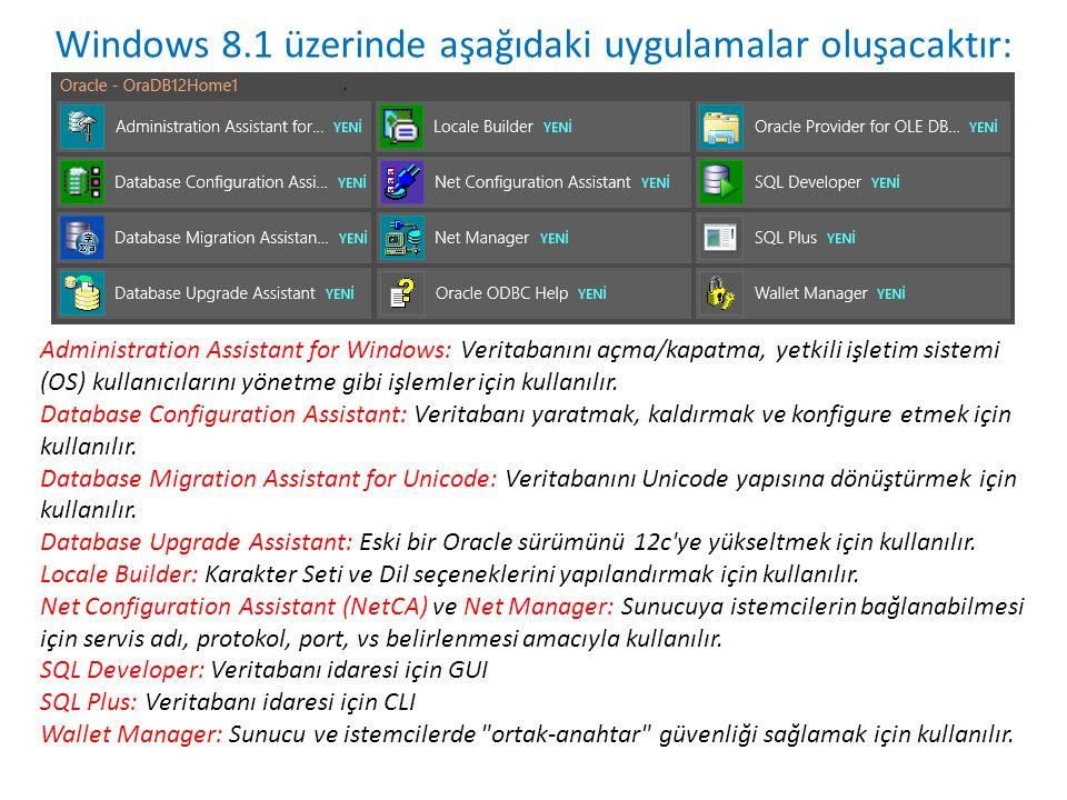 Windows 8.1 üzerinde aşağıdaki uygulamalar oluşacaktır: Administration Assistant for Windows: Veritabanını açma/kapatma, yetkili işletim sistemi (OS)
