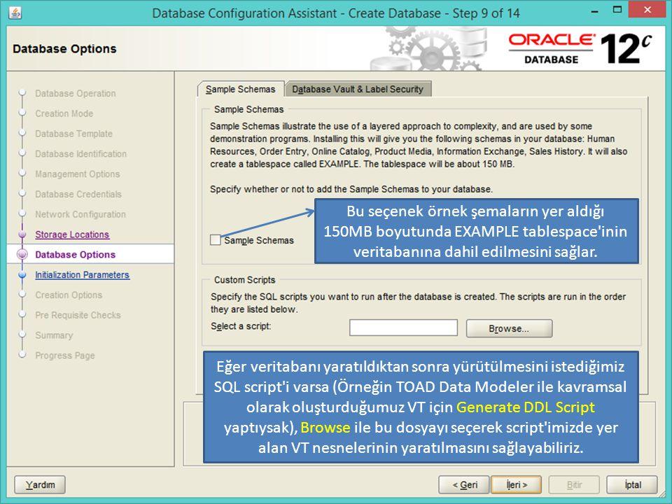 Bu seçenek örnek şemaların yer aldığı 150MB boyutunda EXAMPLE tablespace'inin veritabanına dahil edilmesini sağlar. Eğer veritabanı yaratıldıktan sonr