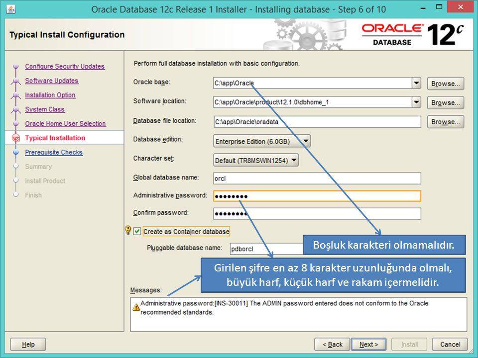 Windows 8.1 üzerinde aşağıdaki hizmetler oluşacaktır: OracleServiceORCL adındaki servis aslında ORCL veritabanı için VTYS motorudur.
