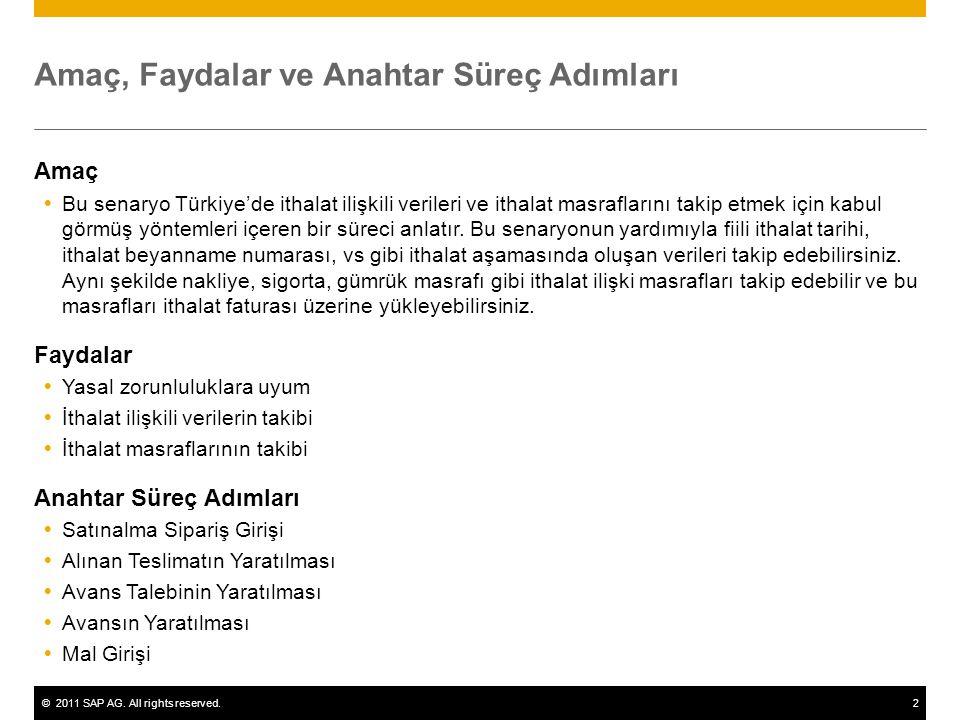 ©2011 SAP AG. All rights reserved.2 Amaç, Faydalar ve Anahtar Süreç Adımları Amaç  Bu senaryo Türkiye'de ithalat ilişkili verileri ve ithalat masrafl