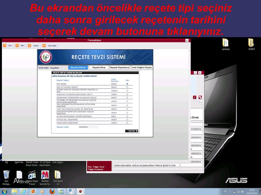 Gelen ekranda belirtmiş olduğunuz tarih aralığındaki ve türündeki sisteme kayıt edilen reçeteleriniz raporlanır.