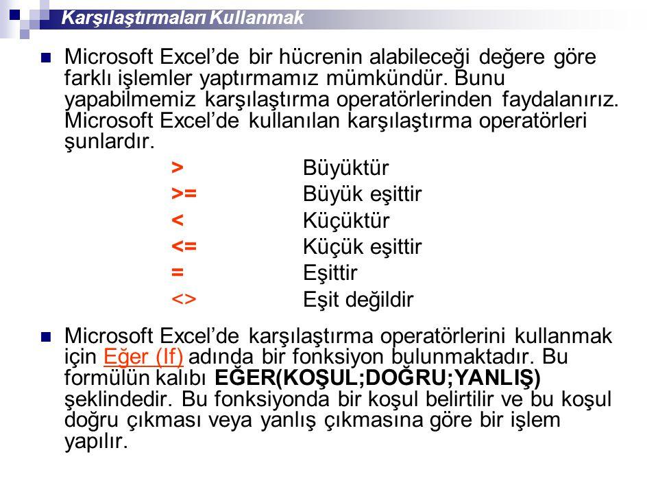 Microsoft Excel'de bir hücrenin alabileceği değere göre farklı işlemler yaptırmamız mümkündür. Bunu yapabilmemiz karşılaştırma operatörlerinden faydal
