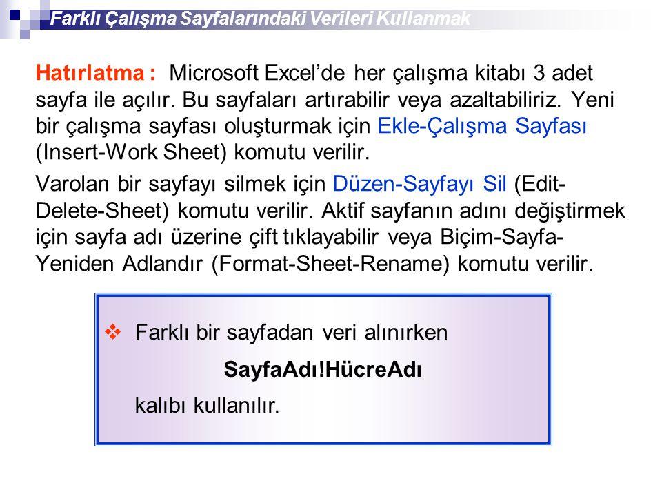 Hatırlatma : Microsoft Excel'de her çalışma kitabı 3 adet sayfa ile açılır. Bu sayfaları artırabilir veya azaltabiliriz. Yeni bir çalışma sayfası oluş