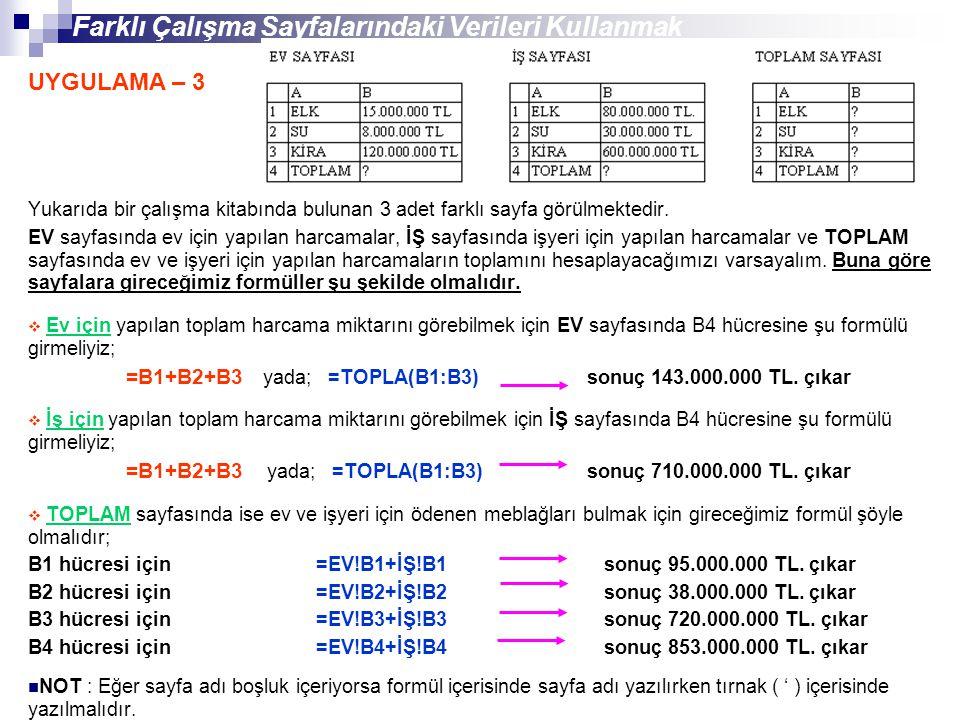 Yukarıda bir çalışma kitabında bulunan 3 adet farklı sayfa görülmektedir. EV sayfasında ev için yapılan harcamalar, İŞ sayfasında işyeri için yapılan