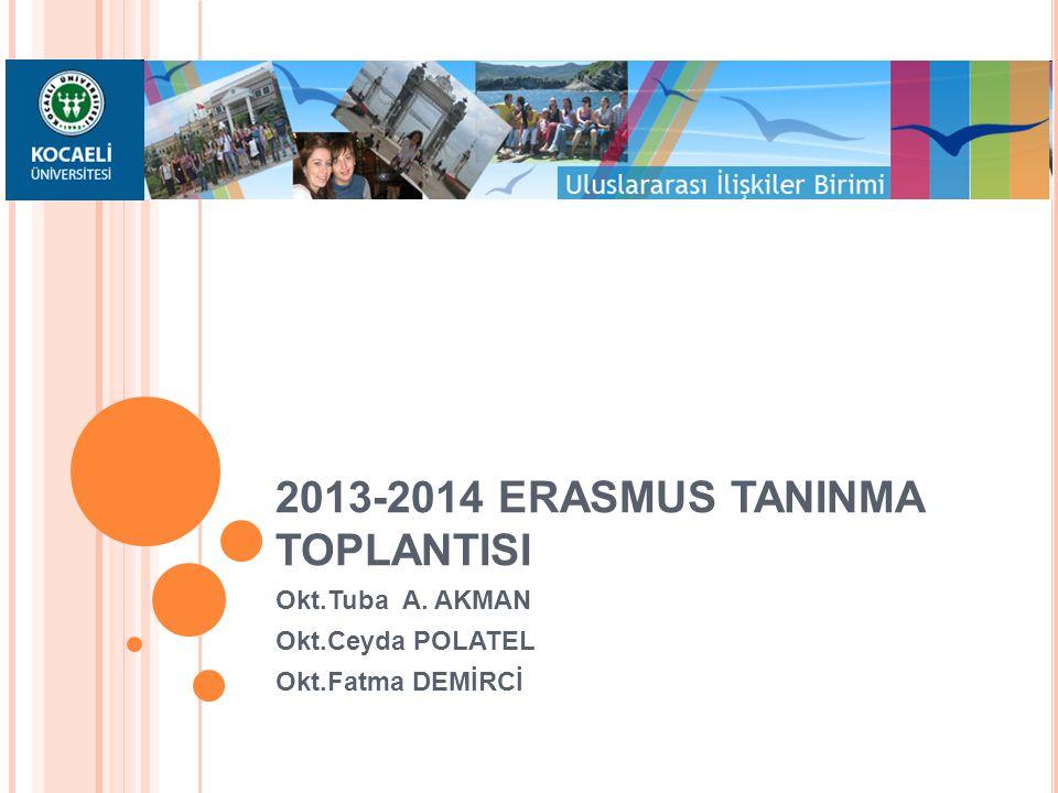 T OPLANTı B AŞLıKLARı KOÜ'de Bologna Süreci kapsamında Erasmus Değişim Programı 2013-2014 yılı itibariyle yapılan değişiklikler Öğrenim Anlaşması Tanınma Yurtdışı Transkript İntibak sonrası Transkript Minimum-Maksimum AKTS Tanınmada Karşılaşılabilecek Problemler Not Dönüştürme Belgesi Yerel Krediler ve AKTS