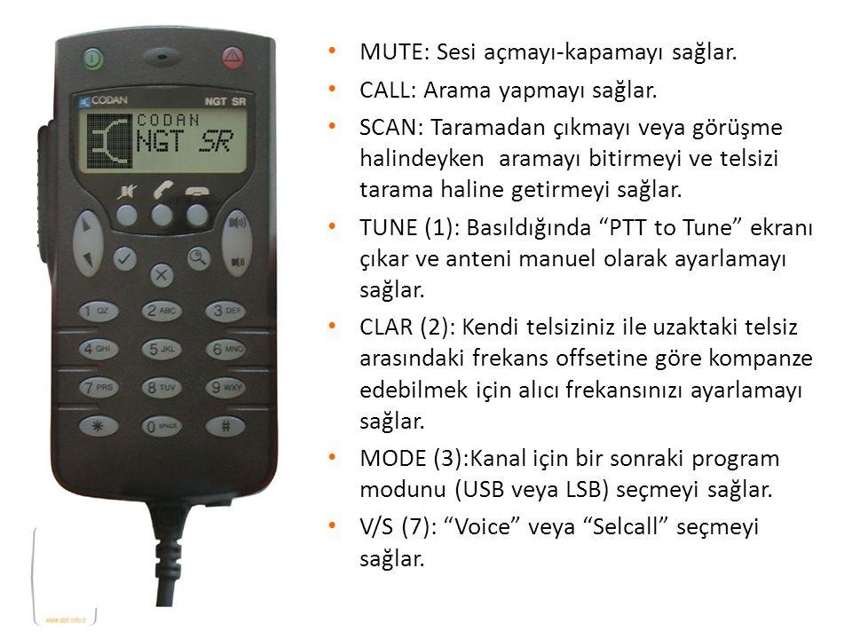 MUTE: Sesi açmayı-kapamayı sağlar. CALL: Arama yapmayı sağlar. SCAN: Taramadan çıkmayı veya görüşme halindeyken aramayı bitirmeyi ve telsizi tarama ha