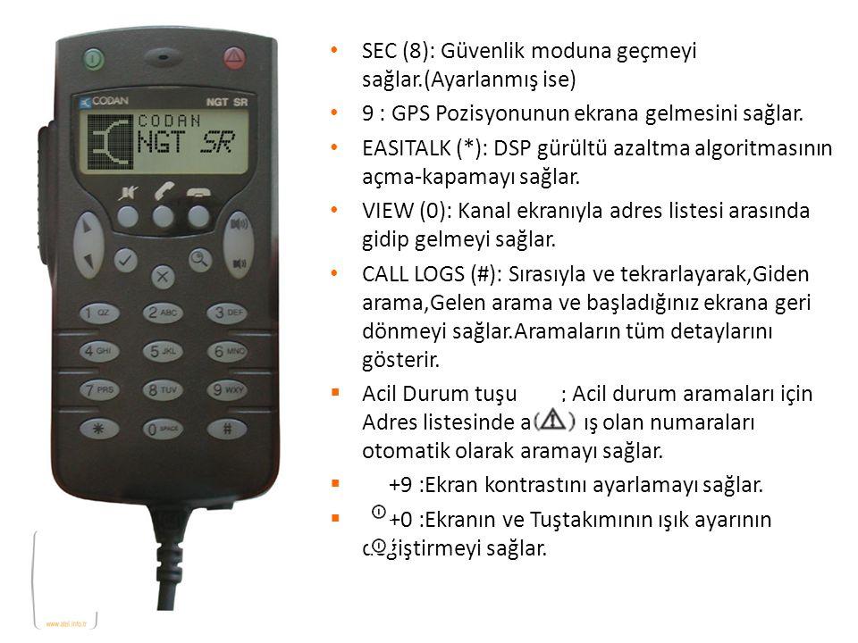 SEC (8): Güvenlik moduna geçmeyi sağlar.(Ayarlanmış ise) 9 : GPS Pozisyonunun ekrana gelmesini sağlar. EASITALK (*): DSP gürültü azaltma algoritmasını