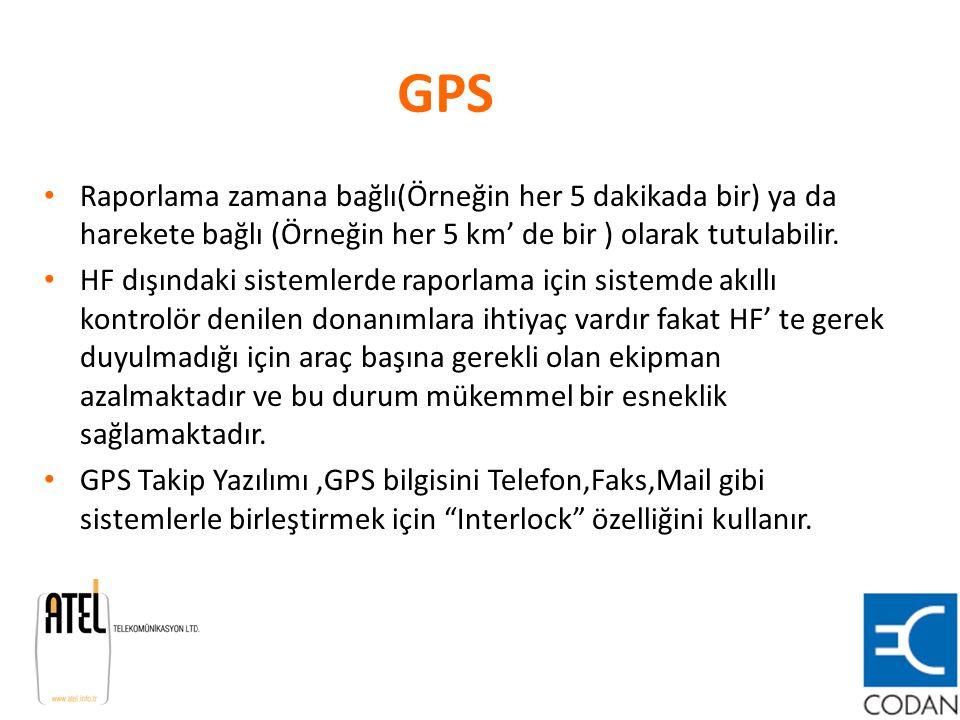 GPS Raporlama zamana bağlı(Örneğin her 5 dakikada bir) ya da harekete bağlı (Örneğin her 5 km' de bir ) olarak tutulabilir. HF dışındaki sistemlerde r