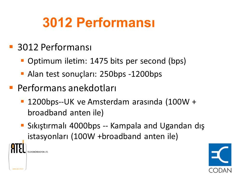 3012 Performansı  3012 Performansı  Optimum iletim: 1475 bits per second (bps)  Alan test sonuçları: 250bps -1200bps  Performans anekdotları  120