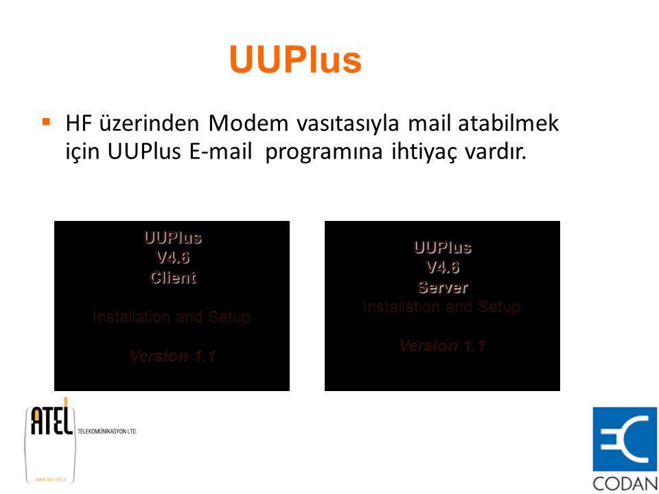 UUPlus  HF üzerinden Modem vasıtasıyla mail atabilmek için UUPlus E-mail programına ihtiyaç vardır. UUPlus V4.6 Client UUPlus V4.6 Client Installatio