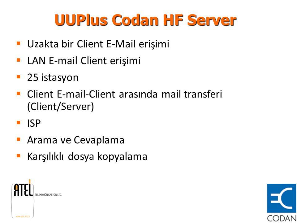 UUPlus Codan HF Server  Uzakta bir Client E-Mail erişimi  LAN E-mail Client erişimi  25 istasyon  Client E-mail-Client arasında mail transferi (Cl