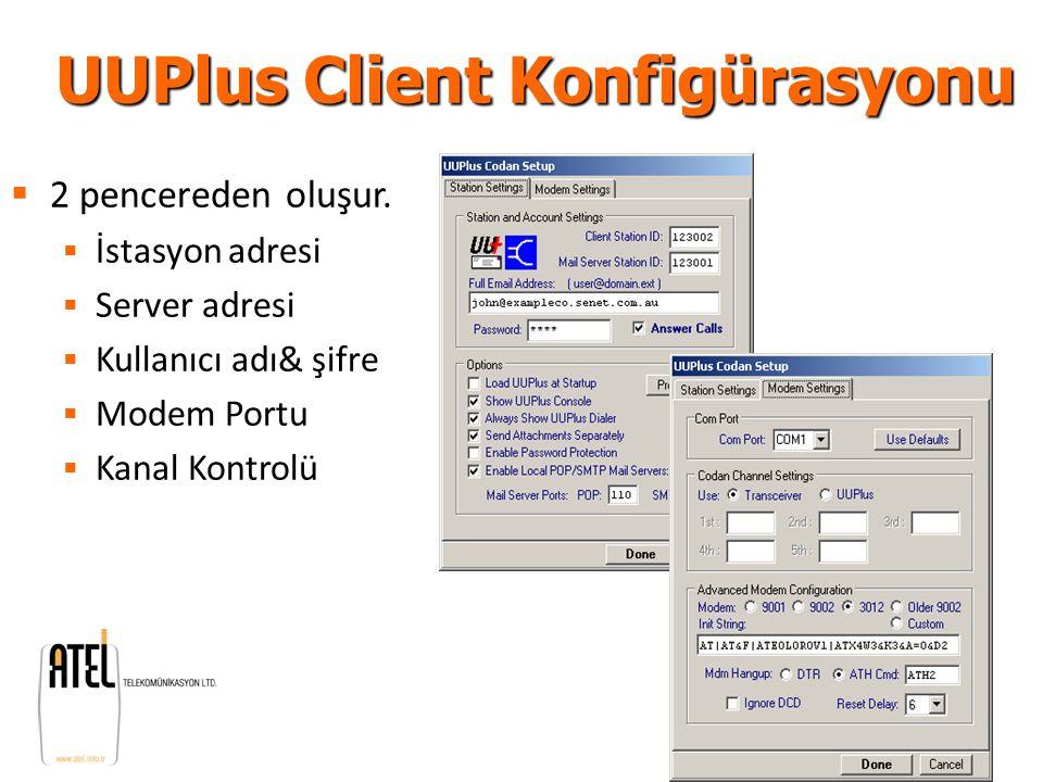 UUPlus Client Konfigürasyonu  2 pencereden oluşur.  İstasyon adresi  Server adresi  Kullanıcı adı& şifre  Modem Portu  Kanal Kontrolü
