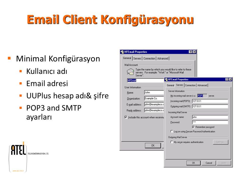 UUPlus V4.6 Server UUPlus V4.6 Server Installation and Setup Version 1.1 Email Client Konfigürasyonu  Minimal Konfigürasyon  Kullanıcı adı  Email a