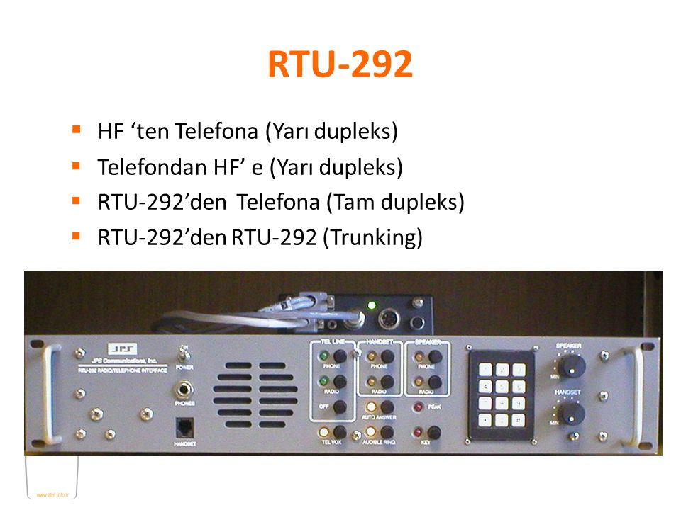 RTU-292  HF 'ten Telefona (Yarı dupleks)  Telefondan HF' e (Yarı dupleks)  RTU-292'den Telefona (Tam dupleks)  RTU-292'den RTU-292 (Trunking)