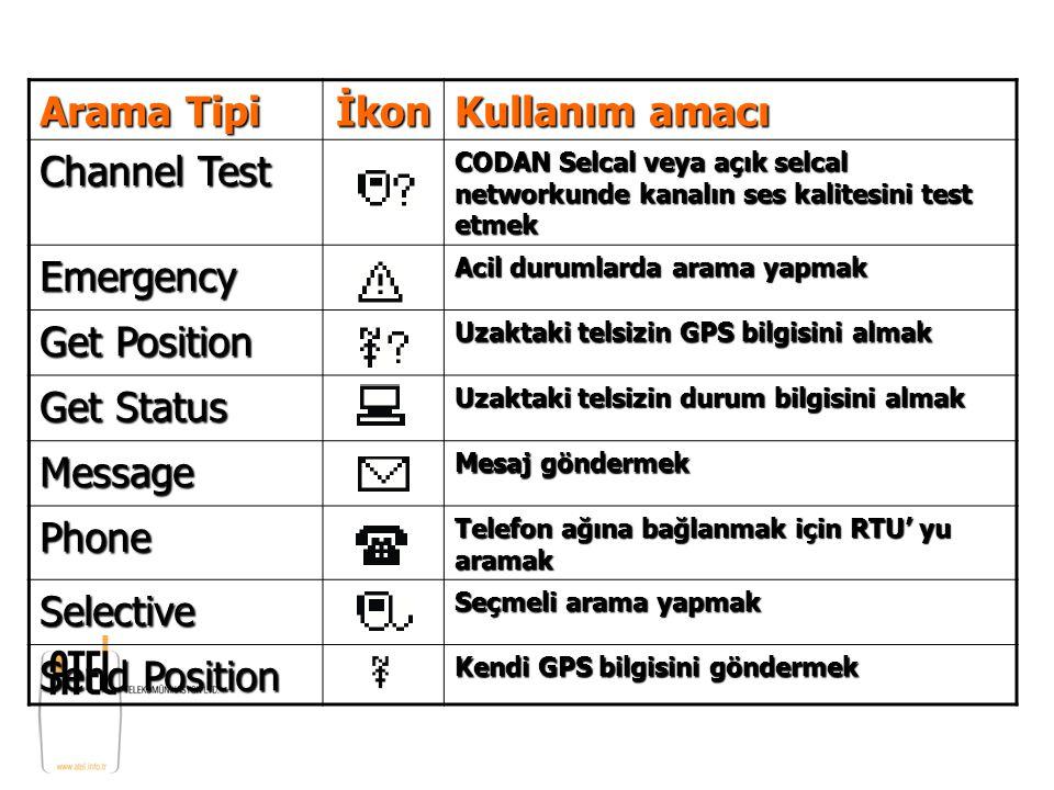 Arama Tipi İkon Kullanım amacı Channel Test CODAN Selcal veya açık selcal networkunde kanalın ses kalitesini test etmek Emergency Acil durumlarda aram
