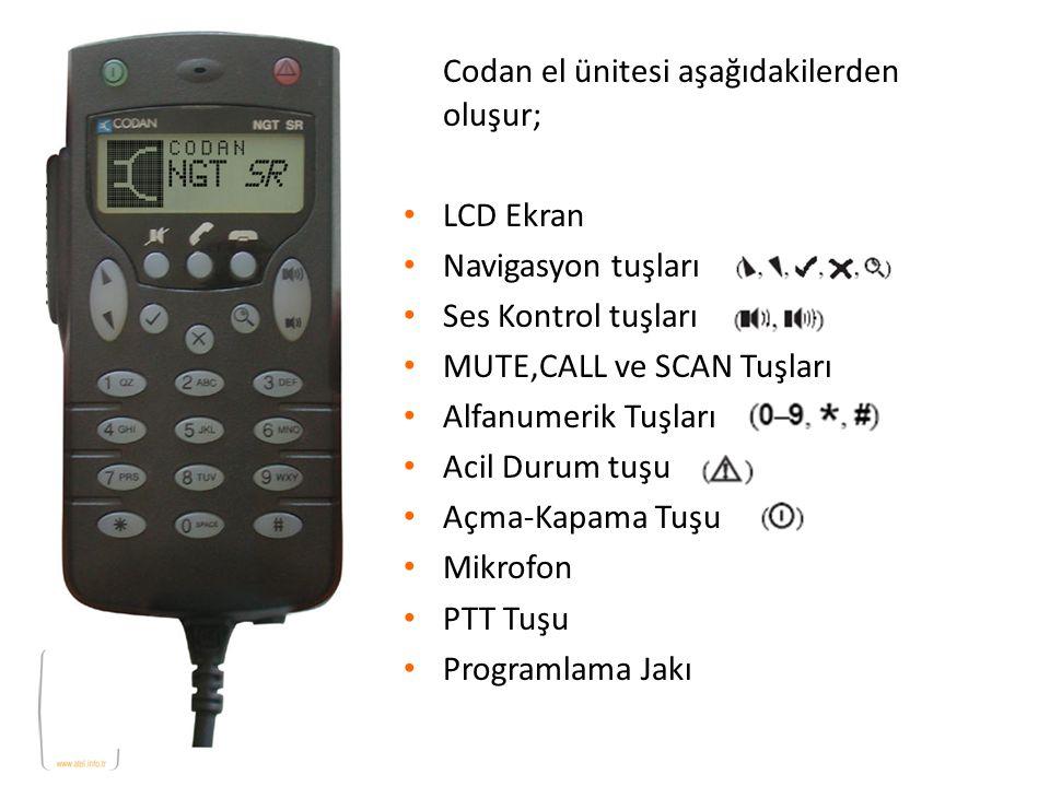 Codan el ünitesi aşağıdakilerden oluşur; LCD Ekran Navigasyon tuşları Ses Kontrol tuşları MUTE,CALL ve SCAN Tuşları Alfanumerik Tuşları Acil Durum tuş