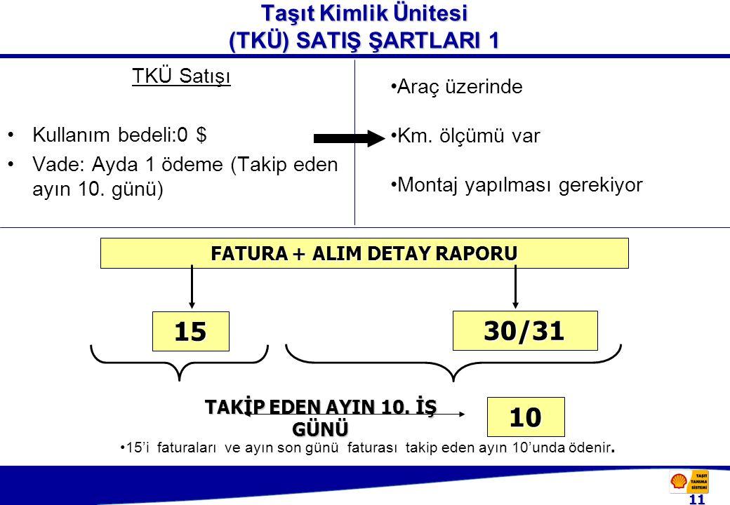 11 Taşıt Kimlik Ünitesi (TKÜ) SATIŞ ŞARTLARI 1 TKÜ Satışı Kullanım bedeli:0 $ Vade: Ayda 1 ödeme (Takip eden ayın 10.
