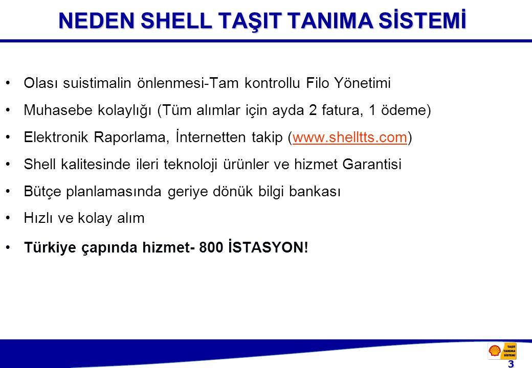 3 NEDEN SHELL TAŞIT TANIMA SİSTEMİ Olası suistimalin önlenmesi-Tam kontrollu Filo Yönetimi Muhasebe kolaylığı (Tüm alımlar için ayda 2 fatura, 1 ödeme) Elektronik Raporlama, İnternetten takip (www.shelltts.com)www.shelltts.com Shell kalitesinde ileri teknoloji ürünler ve hizmet Garantisi Bütçe planlamasında geriye dönük bilgi bankası Hızlı ve kolay alım Türkiye çapında hizmet- 800 İSTASYON!
