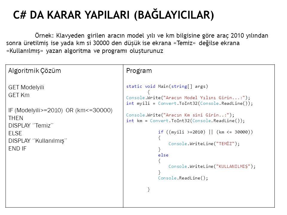 C# DA KARAR YAPILARI (BAĞLAYICILAR) Örnek: Klavyeden girilen aracın model yılı ve km bilgisine göre araç 2010 yılından sonra üretilmiş ise yada km si 30000 den düşük ise ekrana «Temiz» değilse ekrana «Kullanılmış» yazan algoritma ve programı oluşturunuz Algoritmik Çözüm GET Modelyili GET Km IF (Modelyili>=2010) OR (km<=30000) THEN DISPLAY ''Temiz'' ELSE DISPLAY ''Kullanılmış'' END IF Program static void Main(string[] args) { Console.Write( Aracın Model Yılını Girin...: ); int myili = Convert.ToInt32(Console.ReadLine()); Console.Write( Aracın Km sini Girin..: ); int km = Convert.ToInt32(Console.ReadLine()); if ((myili >=2010)    (km <= 30000)) { Console.WriteLine( TEMİZ ); } else { Console.WriteLine( KULLANILMIŞ ); } Console.ReadLine(); }