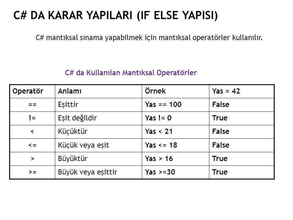 C# DA KARAR YAPILARI (IF ELSE YAPISI) C# mantıksal sınama yapabilmek için mantıksal operatörler kullanılır.