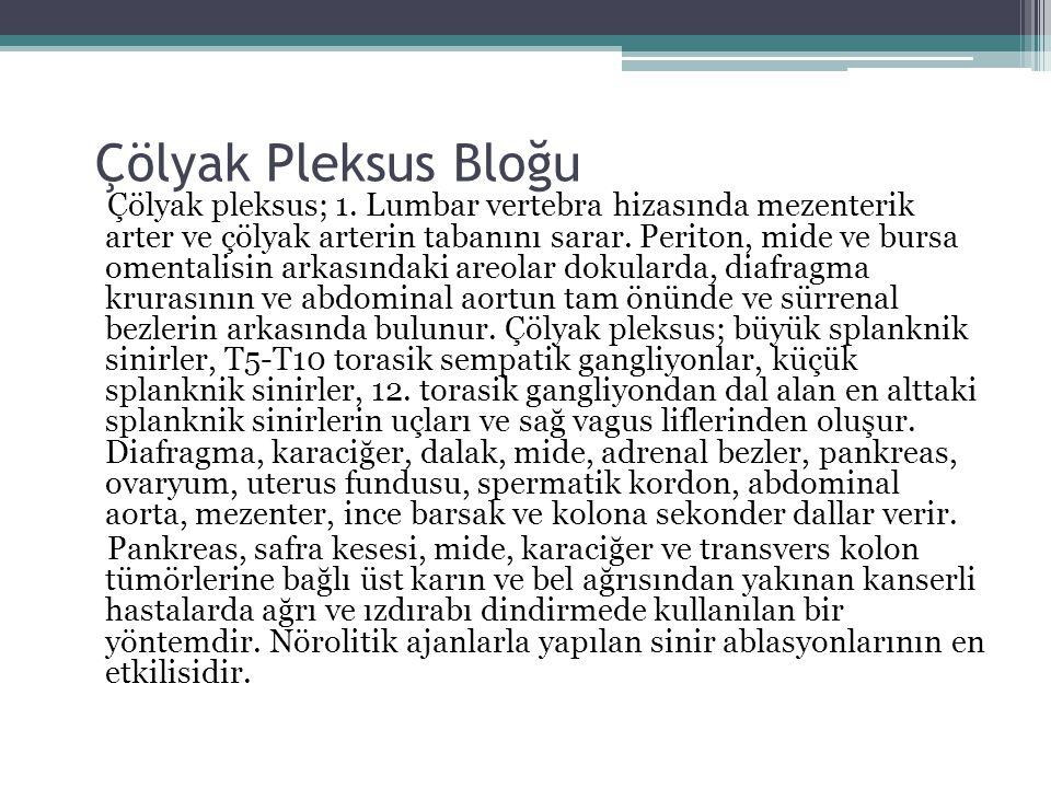 Çölyak Pleksus Bloğu Çölyak pleksus; 1. Lumbar vertebra hizasında mezenterik arter ve çölyak arterin tabanını sarar. Periton, mide ve bursa omentalisi