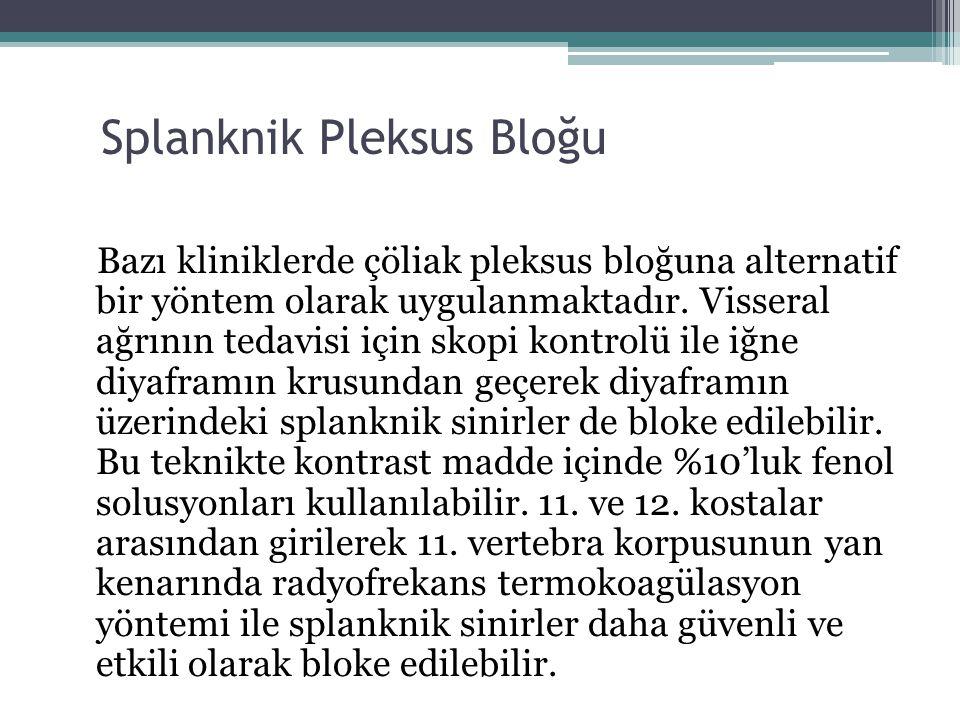 Splanknik Pleksus Bloğu Bazı kliniklerde çöliak pleksus bloğuna alternatif bir yöntem olarak uygulanmaktadır. Visseral ağrının tedavisi için skopi kon