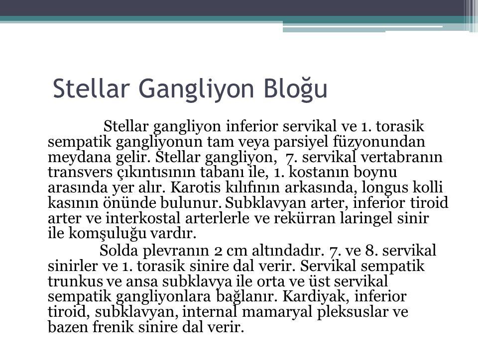 Stellar Gangliyon Bloğu Stellar gangliyon inferior servikal ve 1. torasik sempatik gangliyonun tam veya parsiyel füzyonundan meydana gelir. Stellar ga