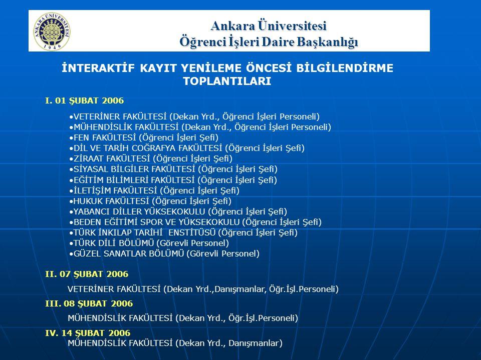 Ankara Üniversitesi Öğrenci İşleri Daire Başkanlığı GENEL RAPORLAR  Not Giriş İstatistiği Listesi  Not Kesinleştirmesi Yapılmamış Öğrenci Listesi  Hiç Kayıt Yaptırmayan Üzerinde Ders Olan Öğrenciler Listesi  Kayıt Dondurmuş Üzerinde Ders Olan Öğrenci Listesi  Kayıt Yaptırmayan Üzerinde Ders Olan Öğrenciler Listesi  Azami Süre Kontrolü Raporu  İlişik Kesilme Durumunda Olan Öğrencilerin Listesi  Dersten Vazgeçme Sayısı Kontrolü Listesi  Seçmeli Derslerin Minumum Kontenjan Raporu  Üniversite, Fakülte/Yüksekokul, Program (Bölüm/Ana Bilim Dalı), Sınıf, Ders Başarı Oranları  Nüfus Bilgileri Listesi  Saat Sınırını Aşan Öğrenci Listesi