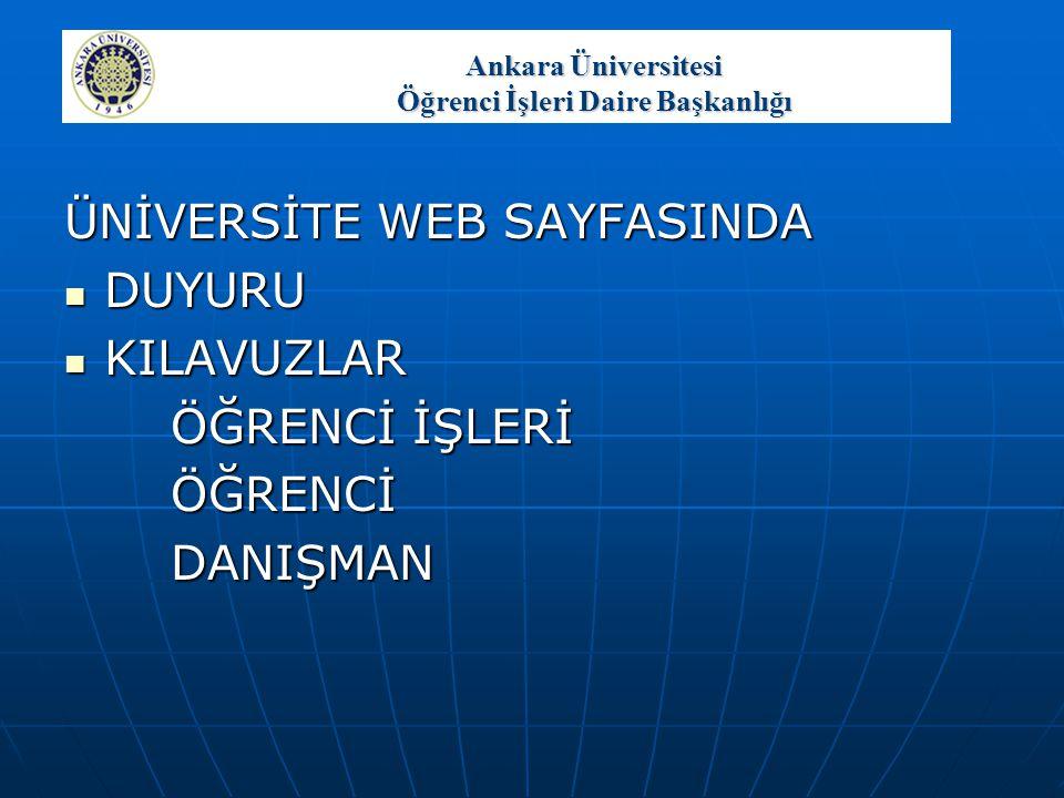Ankara Üniversitesi Öğrenci İşleri Daire Başkanlığı GENEL RAPORLAR  Mezun Durumunda Olan Öğrencilerin Listesi  İlişiği Kesilen Öğrenci Listesi  Onur Öğrencisi Belgesi  Yüksek Onur Öğrencisi Belgesi  Diploma Onur Öğrencisi Belgesi  Diploma Yüksek Onur Öğrencisi Belgesi  Diploma Ekleri  Sınıflarına Göre Öğrenci Sayıları  Durumlarına Göre Öğrenci Sayıları  Yaş Gruplarına Göre Öğrenci Sayıları  Uyruklarına Göre Öğrenci Sayıları  Akademik Başarı Sıralaması  Yıllara Göre Okuyan Öğrenci Listesi  Başarısız Öğrenci İstatistiği