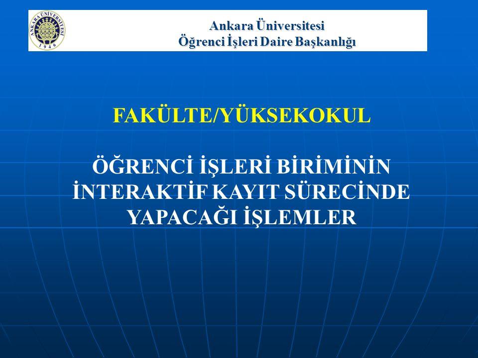 Ankara Üniversitesi Öğrenci İşleri Daire Başkanlığı ÖĞRENCİ LİSTESİ İşlemler  Danışmanlık Danışman, Bir öğrencinin bilgilerini görmek isterse öğrenci numarasını yazıp Listele düğmesine basar.
