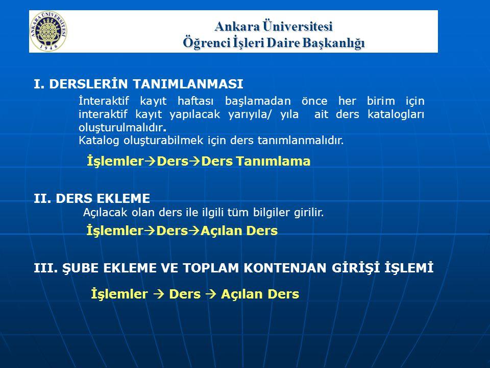 Ankara Üniversitesi Öğrenci İşleri Daire Başkanlığı KAYIT SONU DURUM RAPORU Ders kaydının tamamlanması için Ders Kayıt Onayı yapılmalıdır.