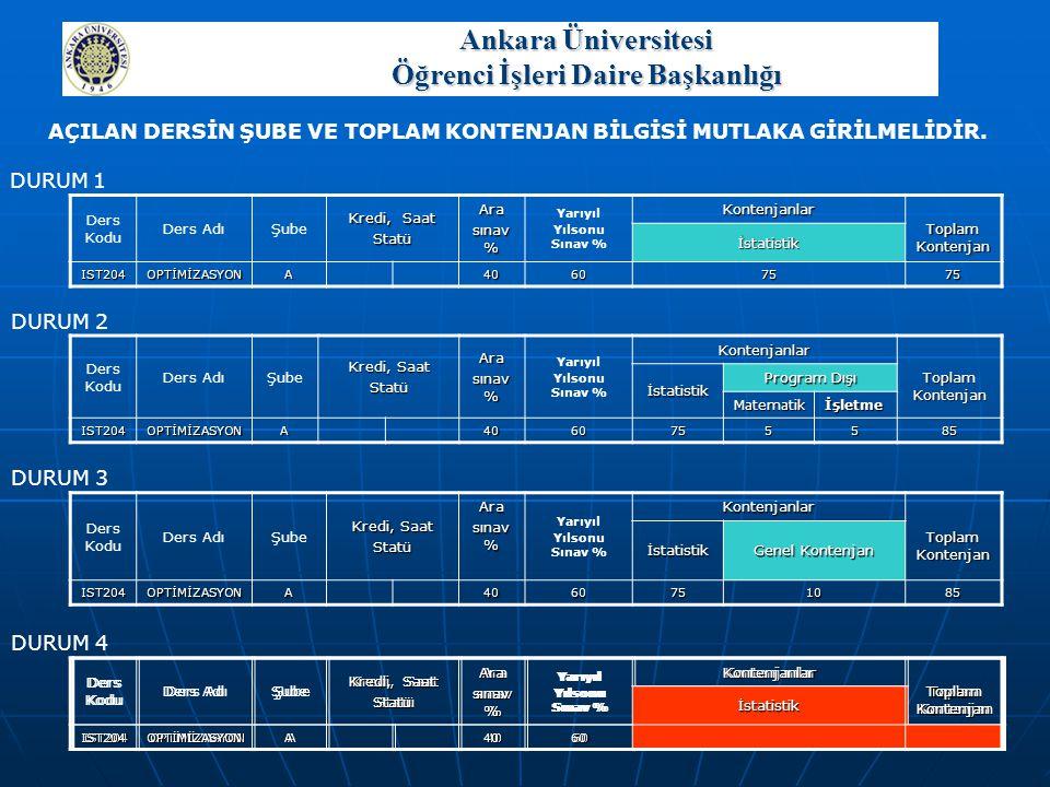 Ankara Üniversitesi Öğrenci İşleri Daire Başkanlığı SEÇMELİ DERS DEĞİŞTİRME Öğrenci, kataloğunda belirlenmiş olan bir seçmeli dersi ya da başarısız olduğu bir seçmeli dersi, başka bir programın kataloğundan kendi programı için açılmış bir dersle değiştirebilir.