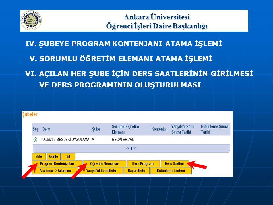 Ankara Üniversitesi Öğrenci İşleri Daire Başkanlığı BİR DERSİN ŞUBESİNE AİT DERS PROGRAMI.