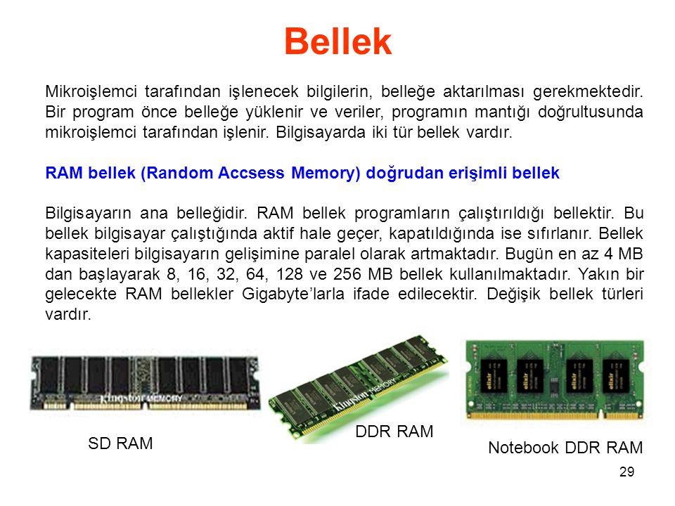 29 Bellek Mikroişlemci tarafından işlenecek bilgilerin, belleğe aktarılması gerekmektedir.