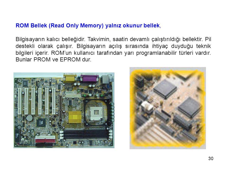 30 ROM Bellek (Read Only Memory) yalnız okunur bellek, Bilgisayarın kalıcı belleğidir.