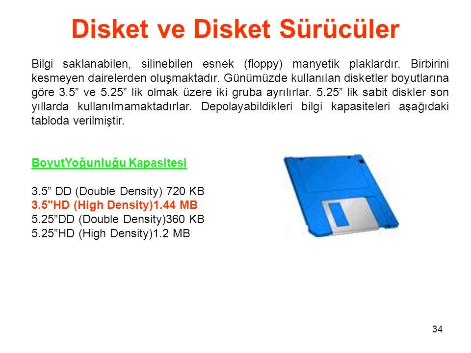 34 Disket ve Disket Sürücüler Bilgi saklanabilen, silinebilen esnek (floppy) manyetik plaklardır.