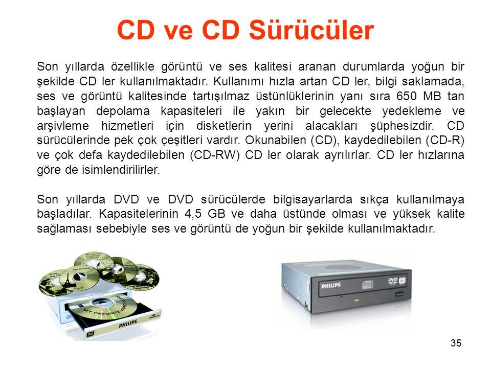 35 CD ve CD Sürücüler Son yıllarda özellikle görüntü ve ses kalitesi aranan durumlarda yoğun bir şekilde CD ler kullanılmaktadır.
