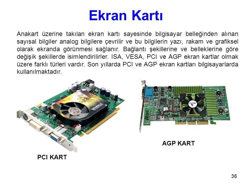 36 Ekran Kartı Anakart üzerine takılan ekran kartı sayesinde bilgisayar belleğinden alınan sayısal bilgiler analog bilgilere çevrilir ve bu bilgilerin yazı, rakam ve grafiksel olarak ekranda görünmesi sağlanır.