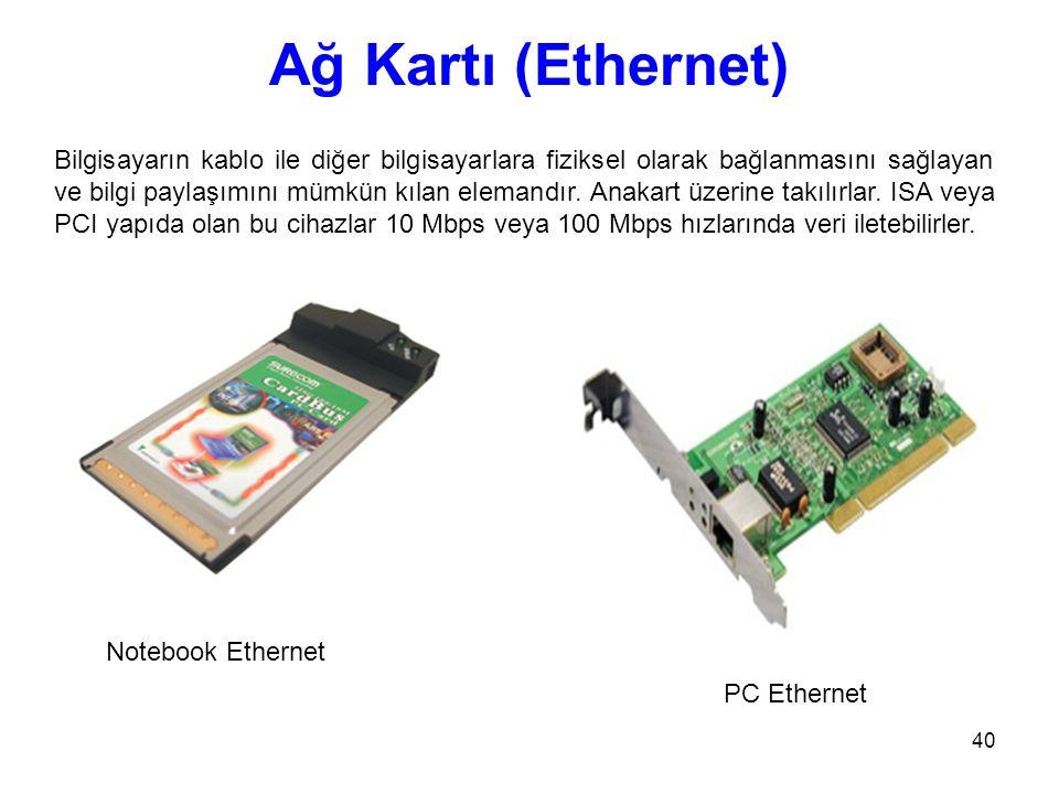 40 Ağ Kartı (Ethernet) Bilgisayarın kablo ile diğer bilgisayarlara fiziksel olarak bağlanmasını sağlayan ve bilgi paylaşımını mümkün kılan elemandır.