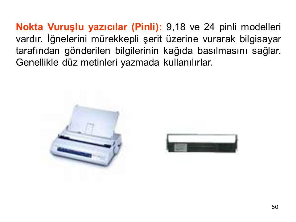 50 Nokta Vuruşlu yazıcılar (Pinli): 9,18 ve 24 pinli modelleri vardır.