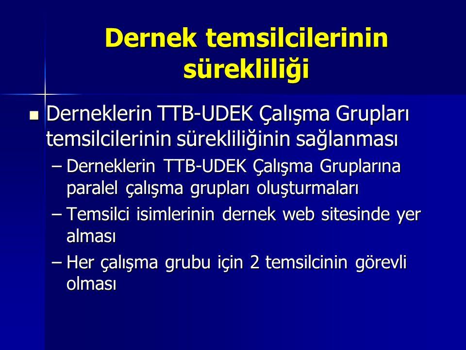 Dernek temsilcilerinin sürekliliği Derneklerin TTB-UDEK Çalışma Grupları temsilcilerinin sürekliliğinin sağlanması Derneklerin TTB-UDEK Çalışma Grupla