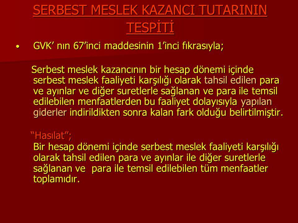 SERBEST MESLEK KAZANCI TUTARININ TESPİTİ GVK' nın 67'inci maddesinin 1'inci fıkrasıyla; GVK' nın 67'inci maddesinin 1'inci fıkrasıyla; Serbest meslek