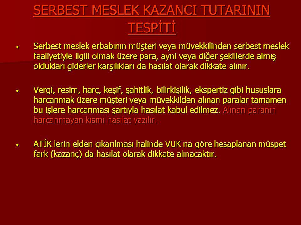 SERBEST MESLEK KAZANCI TUTARININ TESPİTİ Serbest meslek erbabının müşteri veya müvekkilinden serbest meslek faaliyetiyle ilgili olmak üzere para, ayni