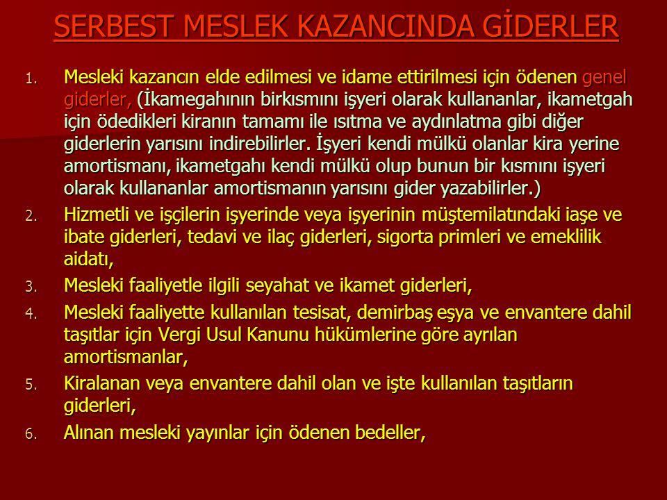 SERBEST MESLEK KAZANCINDA GİDERLER 7.