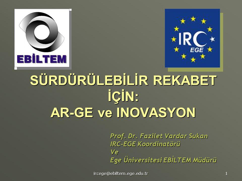 ircege@ebiltem.ege.edu.tr 1 SÜRDÜRÜLEBİLİR REKABET İÇİN: AR-GE ve INOVASYON Prof. Dr. Fazilet Vardar Sukan IRC-EGE Koordinatörü Ve Ege Üniversitesi EB