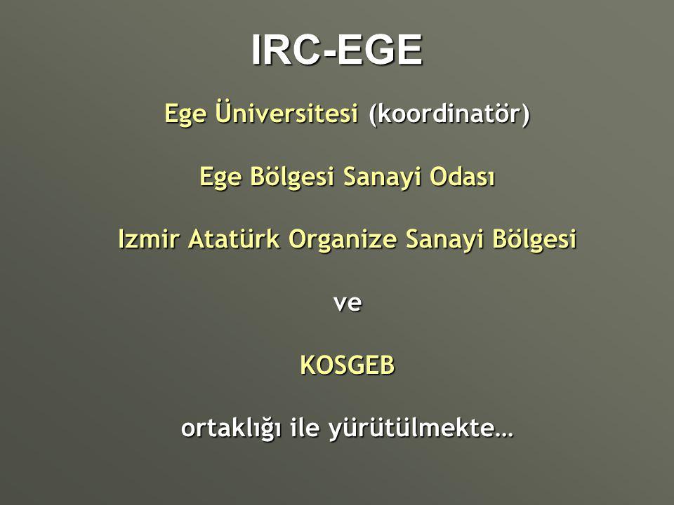 IRC-EGE Ege Üniversitesi (koordinatör) Ege Bölgesi Sanayi Odası Izmir Atatürk Organize Sanayi Bölgesi veKOSGEB ortaklığı ile yürütülmekte…